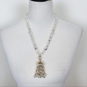 VINTAGE CLEAR BEADED CRYSTAL NECKLACE